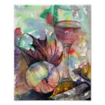 Autumn Wine Glass Still Life Poster