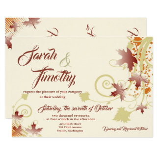 Autumn Wishes 5x7 Wedding Invite