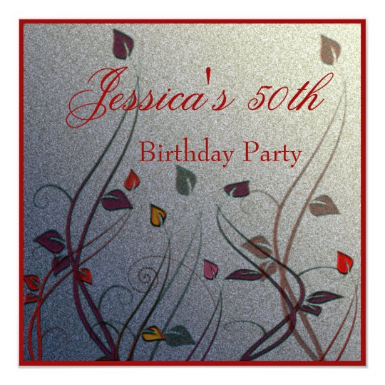 Autumn Wispy Leaf Floral 50th Birthday Card