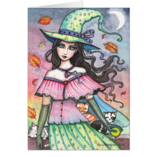 Autumn Witch and 3 Cats Card
