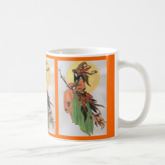 Autumn witch collage with feathers basic white mug