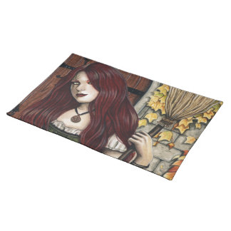 Autumn Witch Gothic Fantasy Art Place Mats