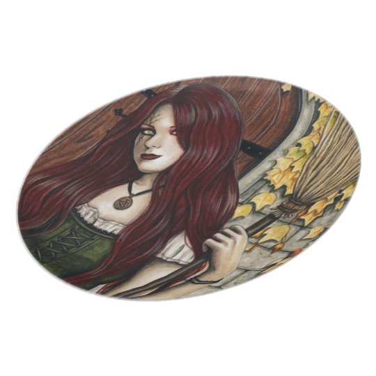 Autumn Witch Gothic Fantasy Art Plate