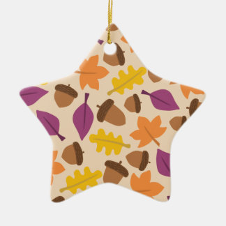 autumn with acorn and oak leaves double sided ceramic star decoration