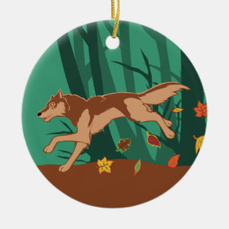 Autumn Wolf Christmas Ornament