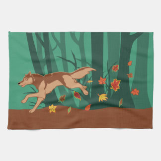 Autumn Wolf Tea Towel