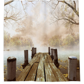 Autumn Wooden Pier Shower Curtain