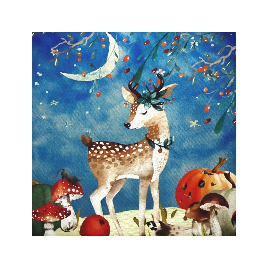 Autumn Woodland Friends Deer Forest Illustration Canvas Print