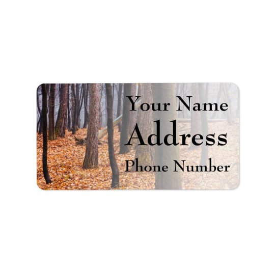 Autumn Woods, Forest Photograph Address Label