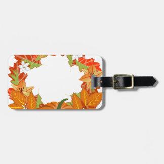 autumn wreath luggage tag