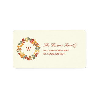 Autumn Wreath Thanksgiving Address Label