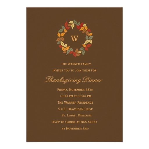 Autumn Wreath Thanksgiving Party Invitation Custom Invites