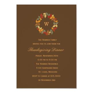 "Autumn Wreath Thanksgiving Party Invitation 5"" X 7"" Invitation Card"