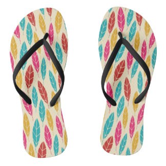 Autumn yellow green turquoise leaves pattern flip flops
