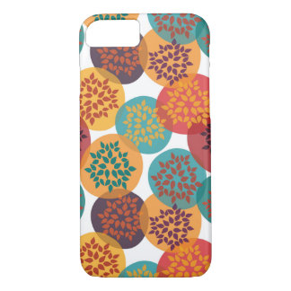 Autumn yellow green turquoise leaves pattern iPhone 7 case