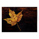 autumn yellow leaf with raindrops greeting cards