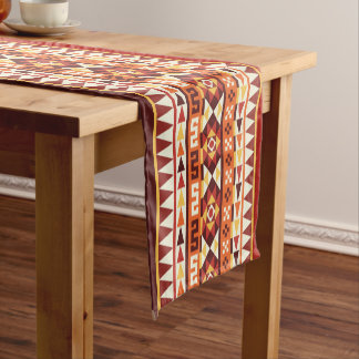 Autumnal Aztec Geometric Pattern Short Table Runner