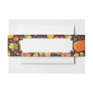 Autumnal background invitation belly band