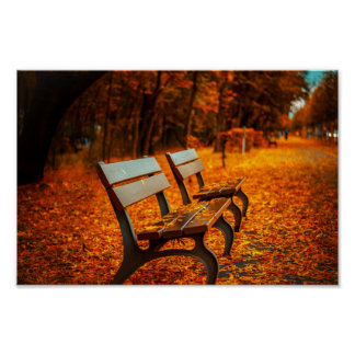 Autumnal bench seating poster