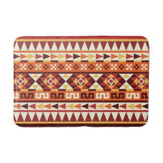 Autumnal Colors Aztec Pattern Bath Mat