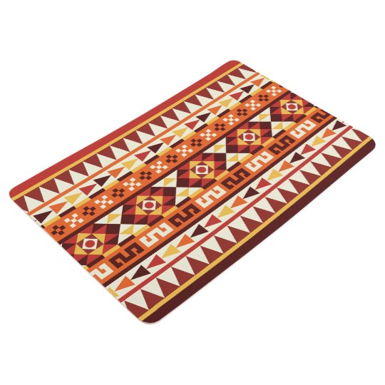 Autumnal Colours Ethnic Aztec Pattern Floor Mat