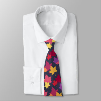 Autumnal Fall Leaves Pattern Tie