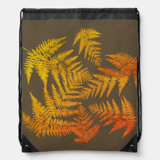 Autumnal ferns. drawstring bag