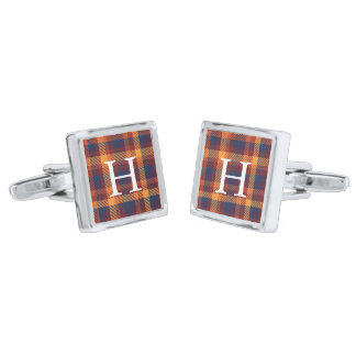 Autumnal Hues Tweed Patterned Plaid Monogram Silver Finish Cufflinks