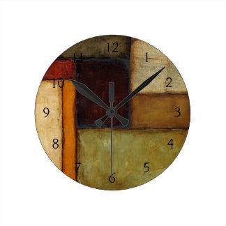 Autumnal Impressionist by Jennifer Goldberger Round Clock