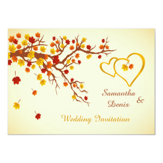 Autumnal maple leaves, hearts Wedding Invitation