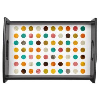 Autumnal polka dots serving tray