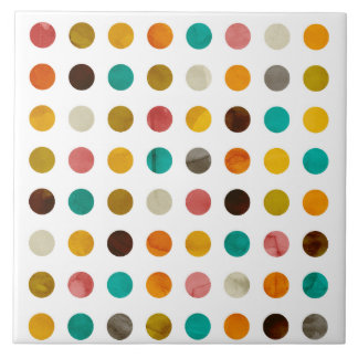 Autumnal Polka Dots Tile