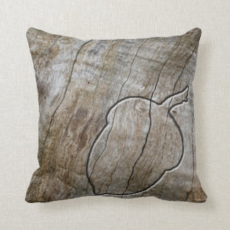 Autumnal themed acorn engraved in wood cushion