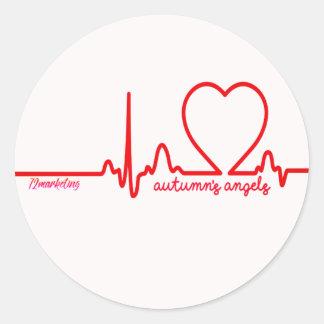 Autumn's Angels Support Heart Issues Sticker Round