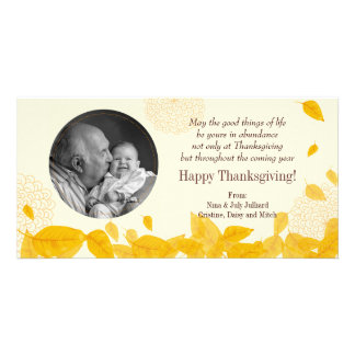 Autumn's Falling Leaves Thanksgiving Personalised Photo Card