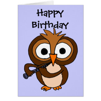 AV- Owl Playing Clarinet Birthday Card