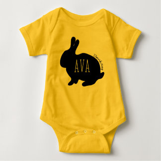 Ava Easter Bunny Babies Top Girls Spring yellow