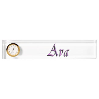 Ava, Name, Logo, Desk Nameplate With Clock.