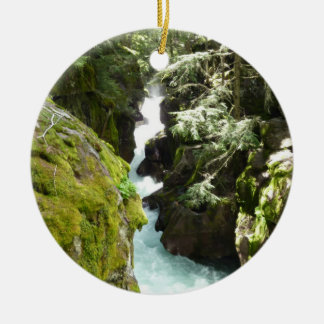 Avalanche Gorge II at Glacier National Park Round Ceramic Decoration