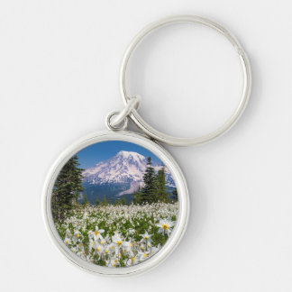 Avalanche lilies and Mount Rainier 2 Key Ring