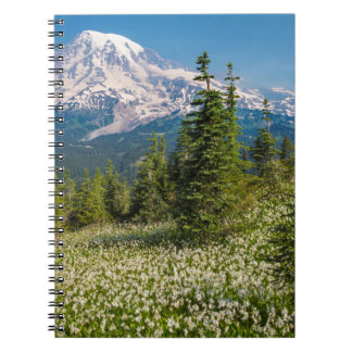 Avalanche lilies and Mount Rainier Spiral Notebook