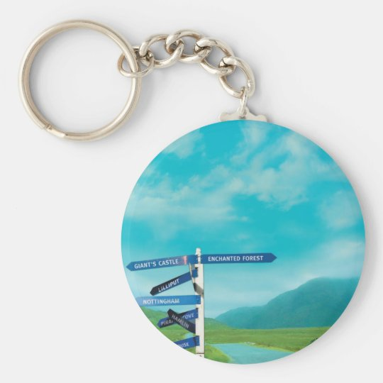 Avalon Signpost Basic Round Button Key Ring