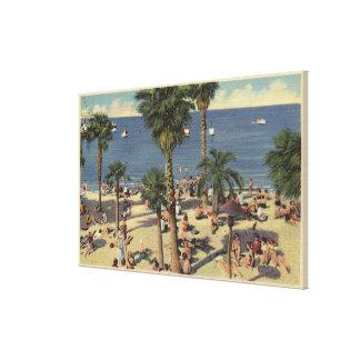 Avalon View of Beach w/ Sunbathers Canvas Print