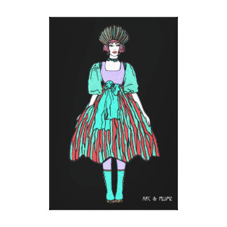 Avant-garde green and red party dress canvas prints