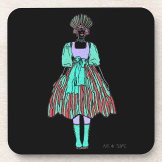 Avant-garde green and red party dress drink coaster