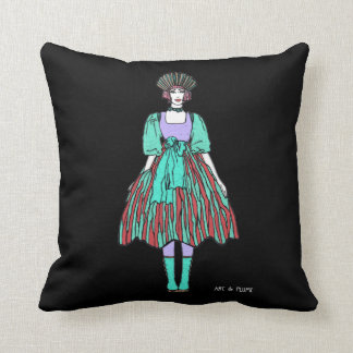 Avant-garde green and red party dress pillow