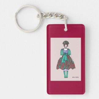 Avant-garde green and red party dress Single-Sided rectangular acrylic key ring