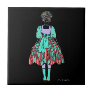 Avant-garde green and red party dress tiles