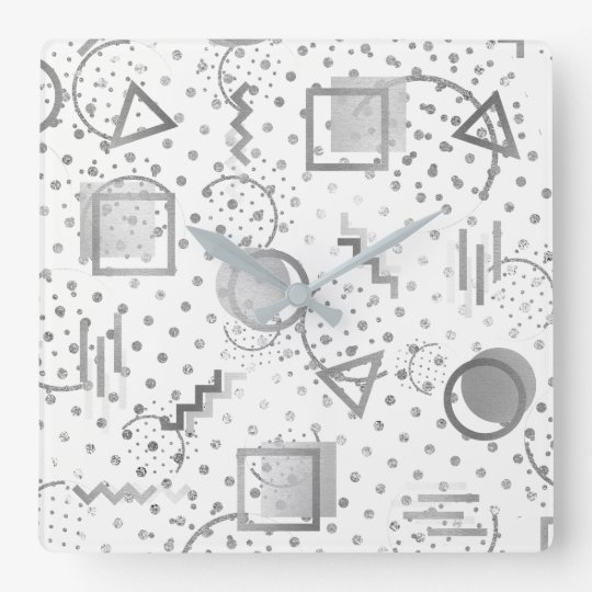 Avantgarde Retro Zig Zag Dots Silver Gray White