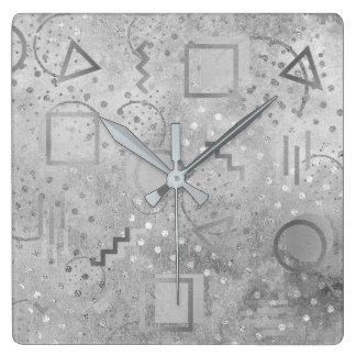 Avantgarde Retro Zig Zag Dots Silver Grungy Gray Clock